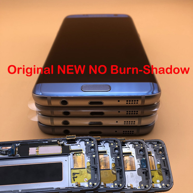 5.5 Original NEW Without Burn Shadow LCD Display With Frame for SAMSUNG Galaxy s7 Edge SM G935 G935F G935FD LCD Touch Screen