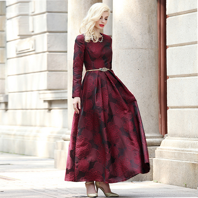 Купить женское длинное платье макси с длинным рукавом элегантное бордового картинки