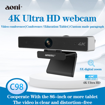 Aoni C98 4K HD Webcam For Video Conference streaming Recording 5X Digital Zoom Web Camera Teaching Training Web cam for Windows