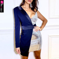 Asymetrical One Shoulder Sequined Dress Women Elegant Chic Shining Sparkly Sexy & Club Night Out Party Dress