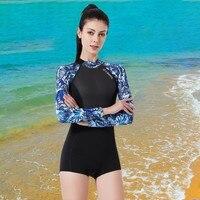 One Piece Swimwear Swimsuit Surf Rashguard Zip Back Long Sleeve Swimsuit Wetsuit Women