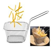 8 pièces Mini Chips en acier inoxydable paniers à frire profonde présentation alimentaire passoire pomme de terre outil de cuisson Chef panier passoire outil 5