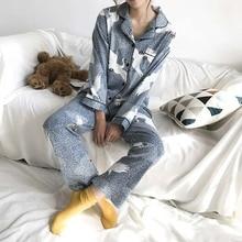 2018 الربيع والخريف جديد القطن منامة مجموعة فام التلبيب كامل الكرتون الكرتون الفراولة المطبوعة السيدات Homewear لباس غير رسمي