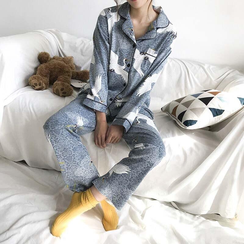 Autumn And Winter New Ladies Cotton Pajamas Korean Version Women Long-sleeve Lapel Cranes Printed Elegant Homewear Casual Wear