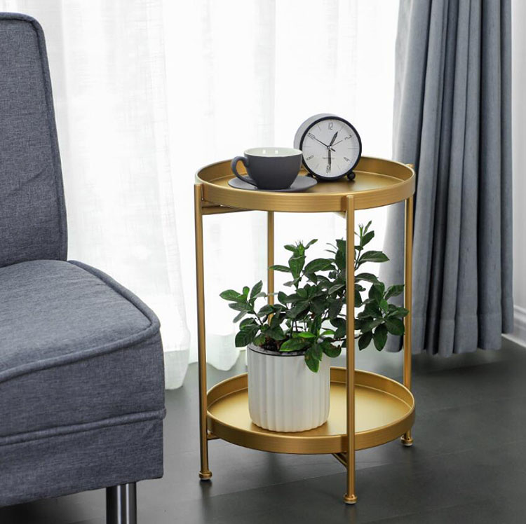 Luxury Metal Round Small Tea Table Coffee Table with Tray Storage for Sofa Bed Side Living Room mesa auxiliar Home Furniture
