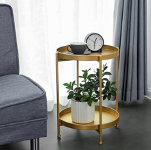 Luxury Metal Round Small Tea Table Coffee Table with Tray Storage for Sofa Bed Side Living Room mesa auxiliar Home Furniture thai crafts wooden tray table foldable legs window small table thai furniture southeast asian style home bamboo tea table