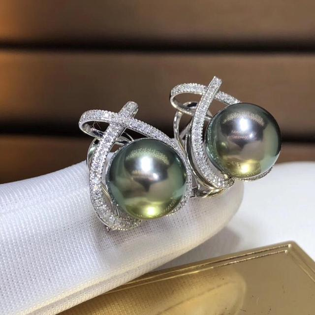 Fine Jewelry Pure 18 K Rose Gold 10-11mm Natural 10mm Tahiti Round Pearl Earrings for Women Fine Pearl Earrings 3