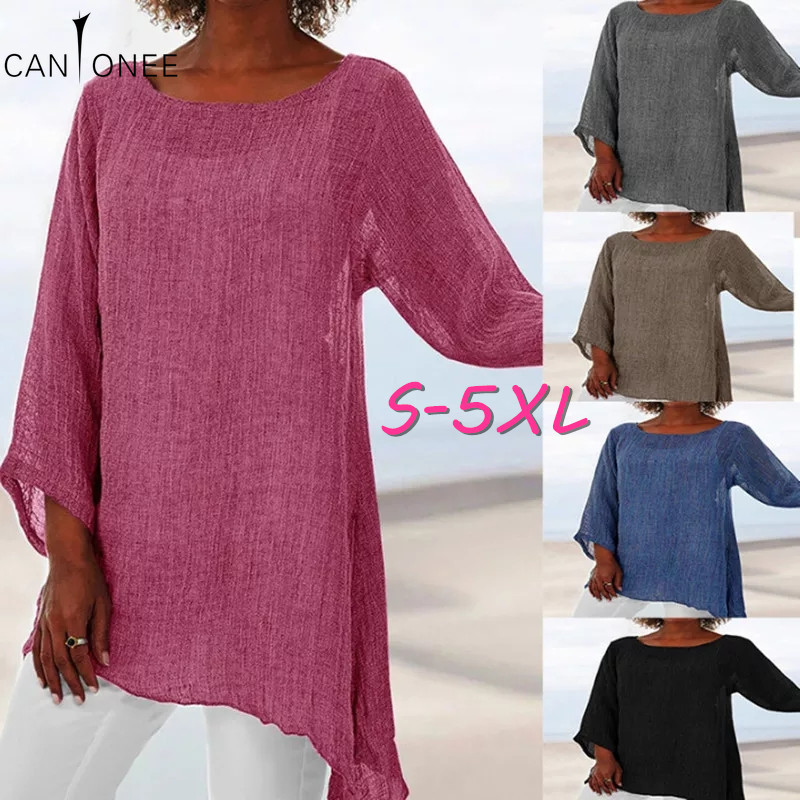 CANTONEE Long Sleeve Plus Size 5XL Women 2020 Solid Black Shirts Casual Thin Cool Female Tunic Cotton Linen Tops And Blouses T19