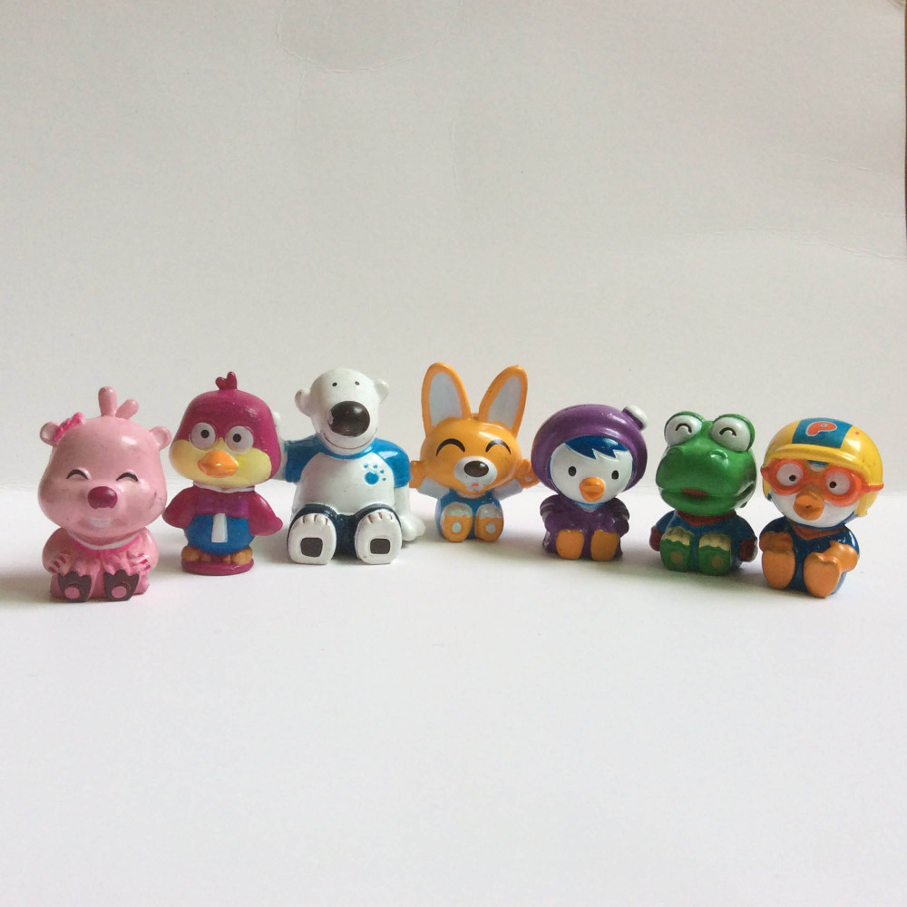 5pcs/lot 3cm Cartoon Anime Pororo Figures Toy Dolls Kids