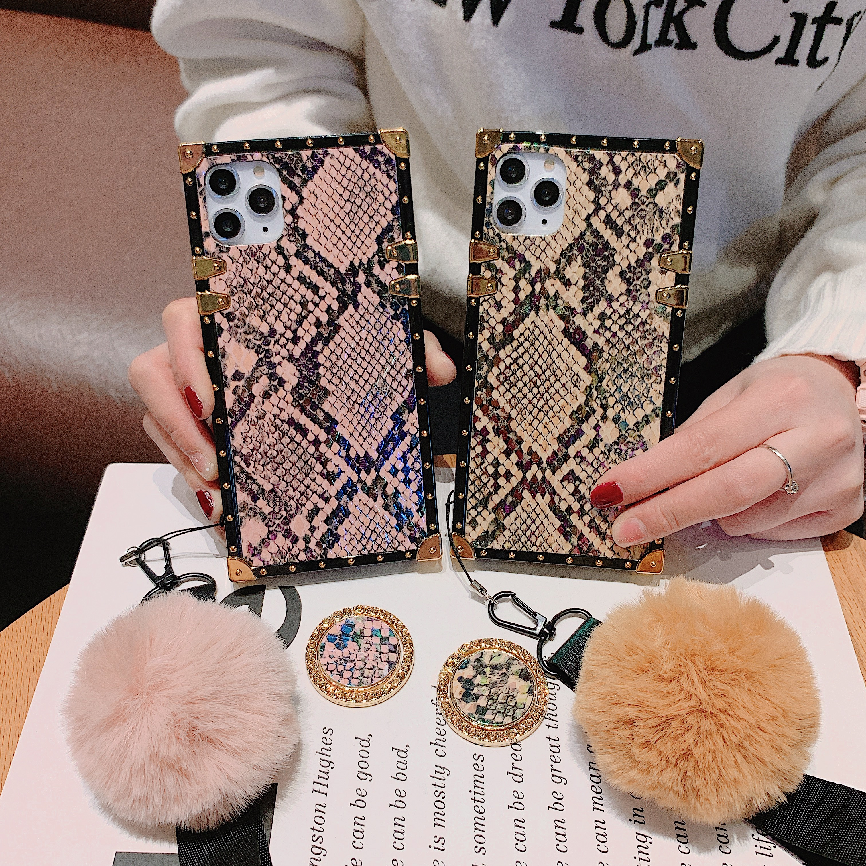 Square Silicone Snakeskin Fur Ball <font><b>Diamond</b></font> Holder Strap Phone <font><b>Case</b></font> For <font><b>Huawei</b></font> <font><b>P20</b></font> P30 Pro Lite Nova 2S 3 i 3E 4 4E 5 6 5pro 5I image