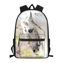 HaoYun Fashion Childrens Little Canvas Backpack Flower Horse Prints Pattern Students School Book Bag Kids Travel Backpacks