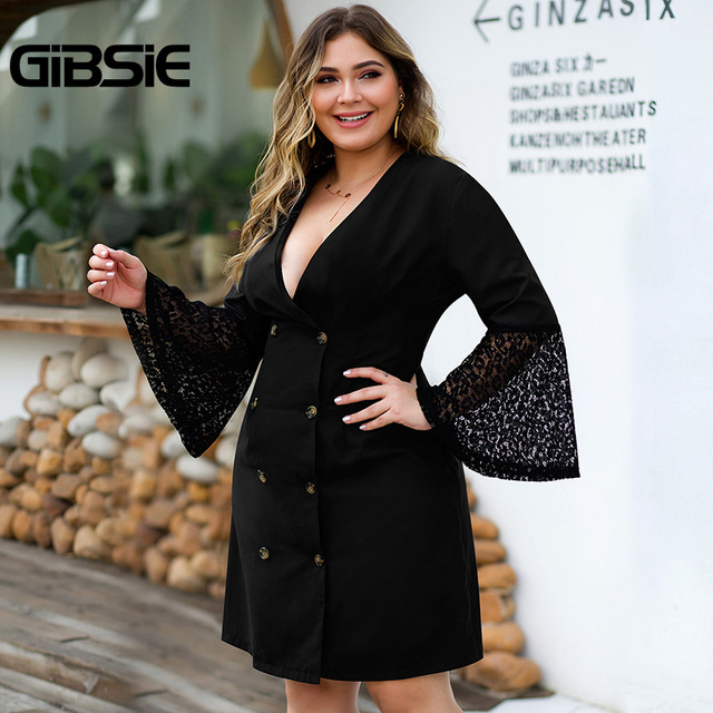 GIBSIE Sexy V-neck Double Breasted Blazer Dress Women Plus Size Lace Patchwork Flare Long Sleeve Autumn Office Lady A-Line Dress 1