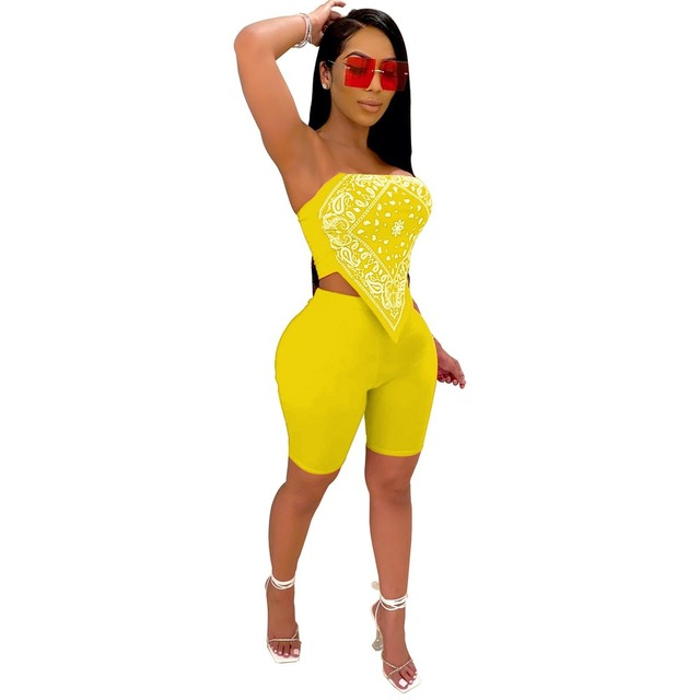 Graphic Bandana Outfit Women Two Piece Club Set Sexy Strapless Cute Handkerchief Crop Top And Biker Shorts Matching Sets Suits 4