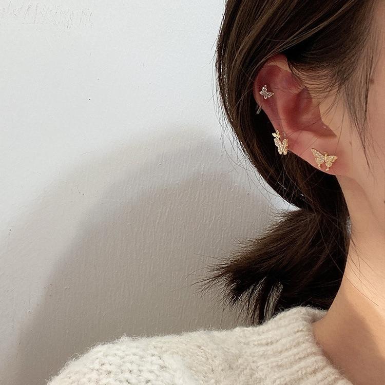 2020 Fashion Lifelike Butterfly Clip Earrings Without Piercing For Women Crystal Lovely Animal Ear Piercing Earrings Jewelry