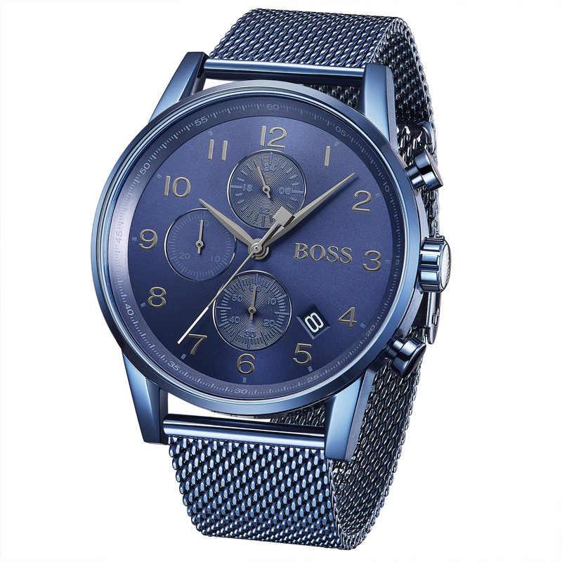 Reloj de cronógrafo de edición GQ para hombre con correa de acero inoxidable Chapado en azul de moda para hombre-1513538