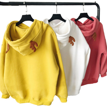 цена на Reindeer Horned Hoodie Sweatshirt With Horns Poleron Mujer 2019 Snowflake Letter Embroidery Hoodie Kangaroo Pocket Hoodie Women