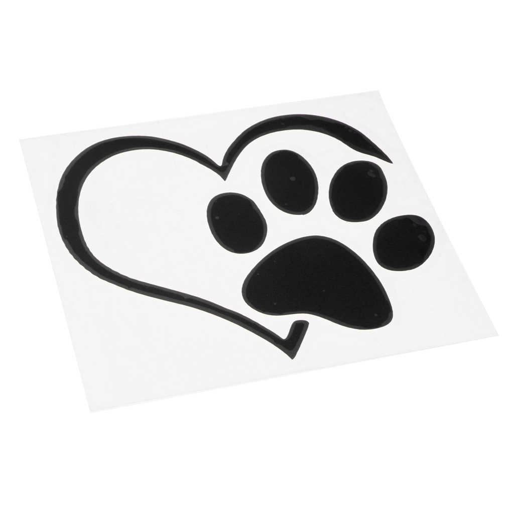 Pet Paw Love Heart Pattern Car Window Stickers Vinyl Cats Dogs Decals
