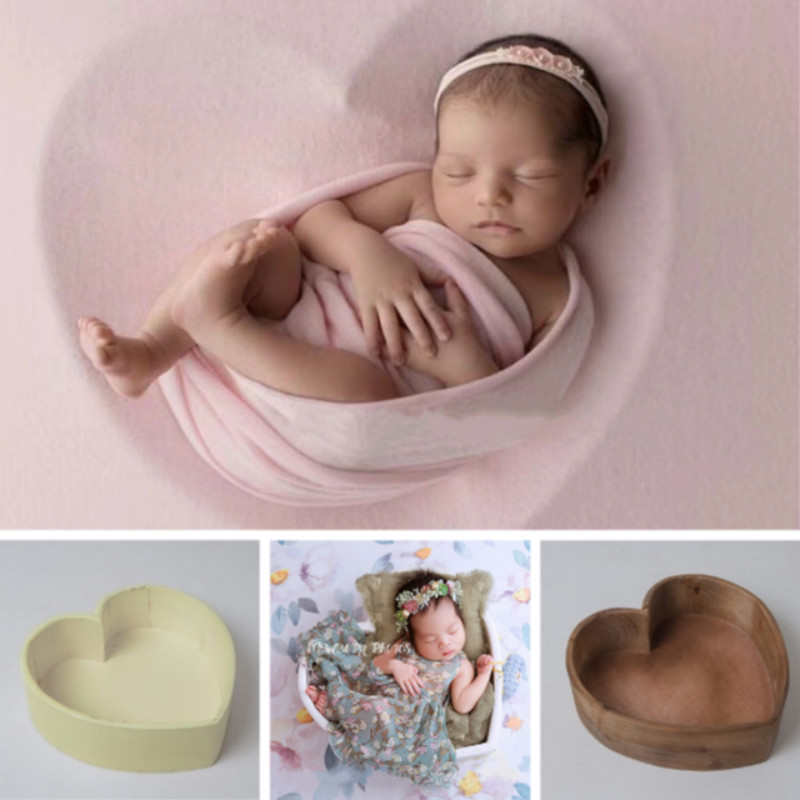 Newborn Photography Props Wooden Posing Props Heart Shape Baby Photo Container Infant Shoot Accessories Creative Big Props