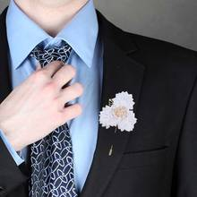 5piece/lot White Ribbon Corsage Wedding Boutonnieres Groom Groomsmen Buttonhole Prom Pearl Brooch Ceremony Flower XH1797