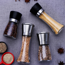 Stainless steel salt and pepper mill manual food herb grinders spice jar containers kitchen gadgets spice bottles glass