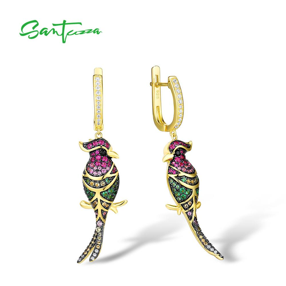 SANTUZZA Silver Earrings For Women  925 Sterling Silver Gold Color Colorful Lovely Birds Drop Earrings Trendy Party Fine Jewelry