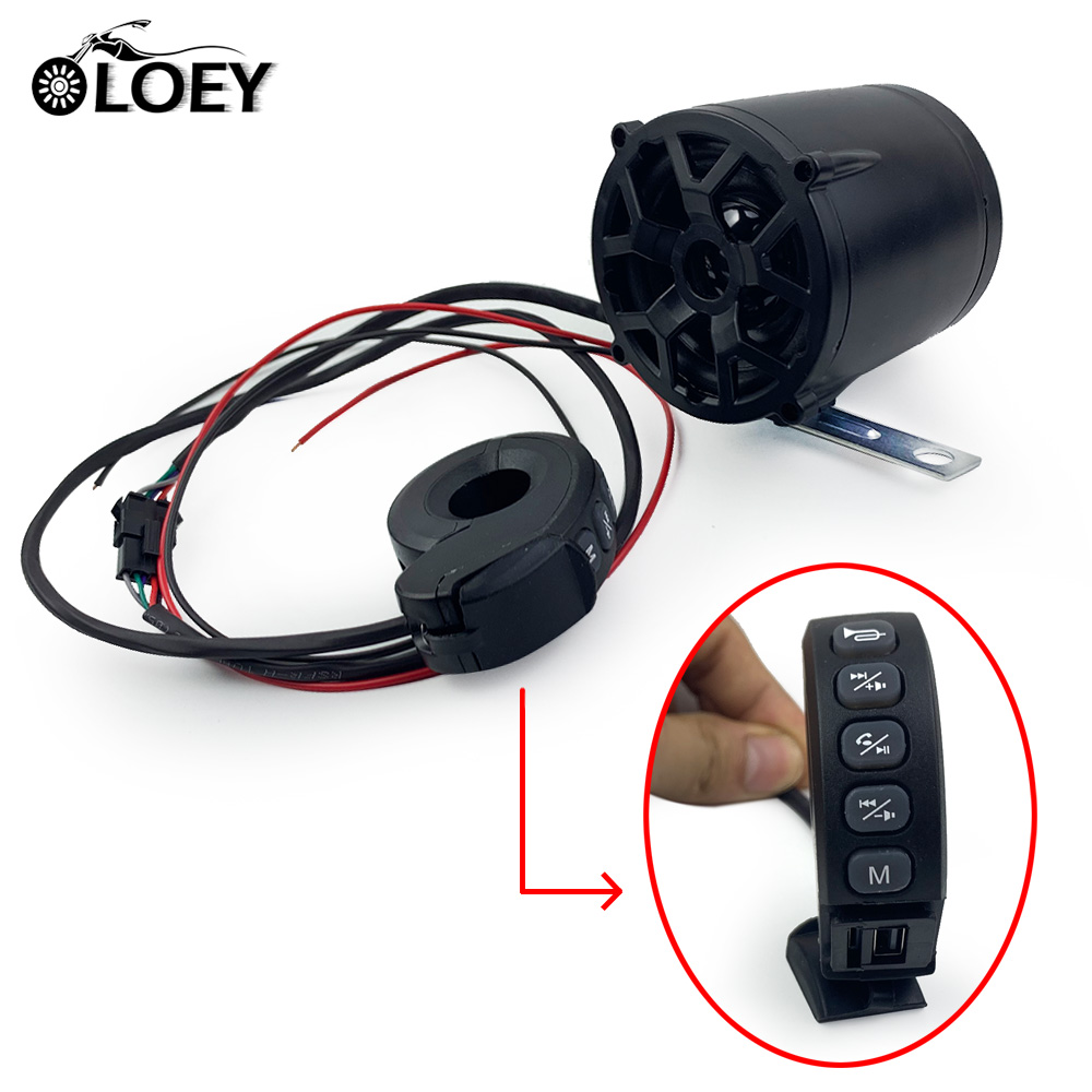 12v Motorcycle Bluetooth Speakers Wireless Remote Siren Horn FM Radio  TF Card MP3 Player USB Phone Charging And Call Answer
