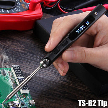 TS100 65 W Mini hierro eléctrico de soldadura Kit de estación de LCD Digital Programable Pantalla de temperatura ajustable con BC2 la punta de soldadura