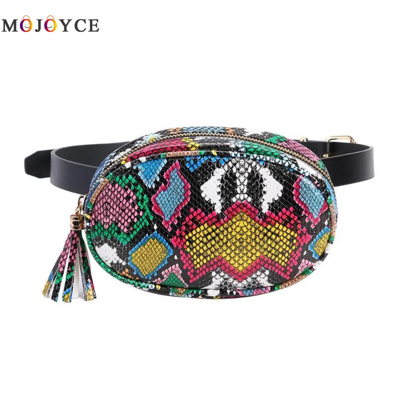 Fashion Serpentine Belt Bag Women PU Leather Crossbody Small Tassels Fanny Pack Ladies Waist Bag