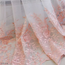Modern Rose Tulle Curtains for Bedroom Girl Living Room White Pink Embroidery Floral Sheer Curtain Drapes