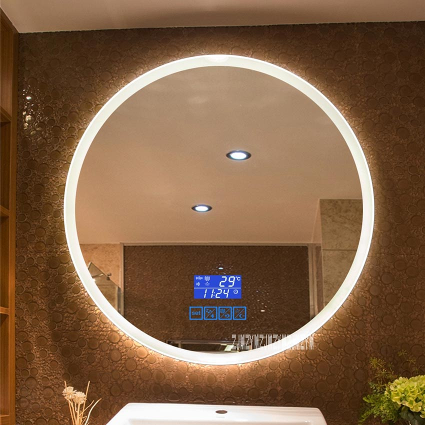 CTL304 New Upgrade 2-color Light Smart Mirror Wall-mounted LED Bathroom Mirror Round Touch Screen Vanity Mirror 110V/220V 4.8W/m