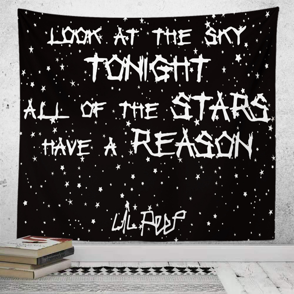 Night Sky Lil Peep Art Wall Tapestry Psychedelic Carpet Boho Room Decor Wall Hanging Tapestry Hippie Astrology Bedroom Decoratio