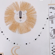 Cartoon Lion Hanging Decorations Cotton Thread Weaving Animal Head Wall Ornament U7EE