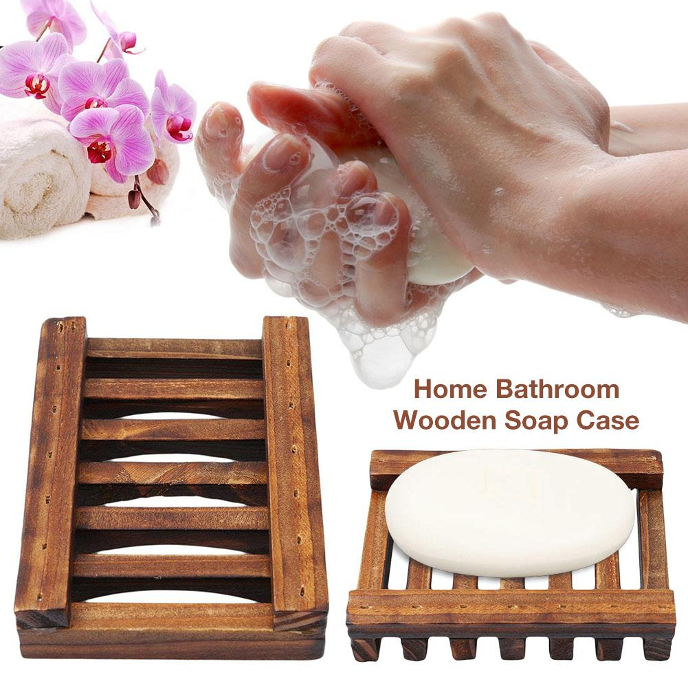 Portable Bamboo Wooden Soap Dish Shower Case Holder Container Storage Box Bathroom Shower Soap Tray Dish Storage Holder