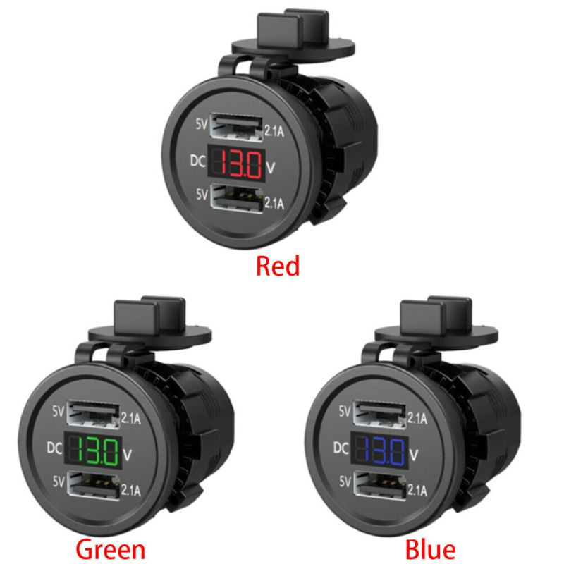 5V 2.1A Waterproof Dual Ports USB <font><b>Charger</b></font> Socket <font><b>Adapter</b></font> <font><b>Power</b></font> Outlet with Voltage Display Voltmeter for 12-24V <font><b>Car</b></font> Boat Motorcy image