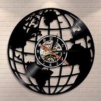 3d terra relógio de parede globo mapa decoração da casa vinil registro relógio de parede mapa do mundo interior moderno presente