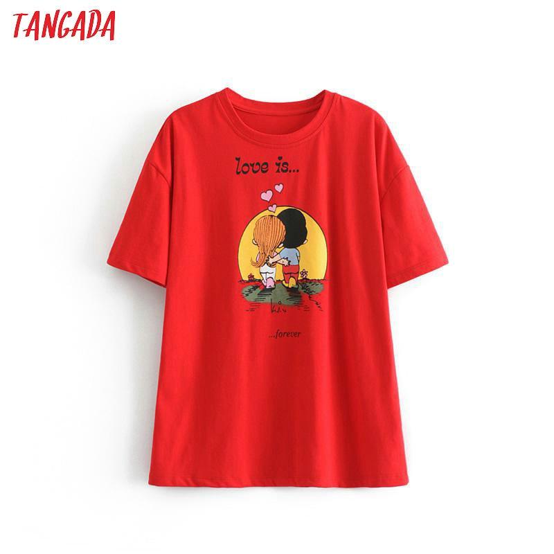 Tangada Women Vintage Print Cotton 2020 T Shirt Short Sleeve O Neck Tees Ladies Casual Tee Shirt Street Wear Top 6P88