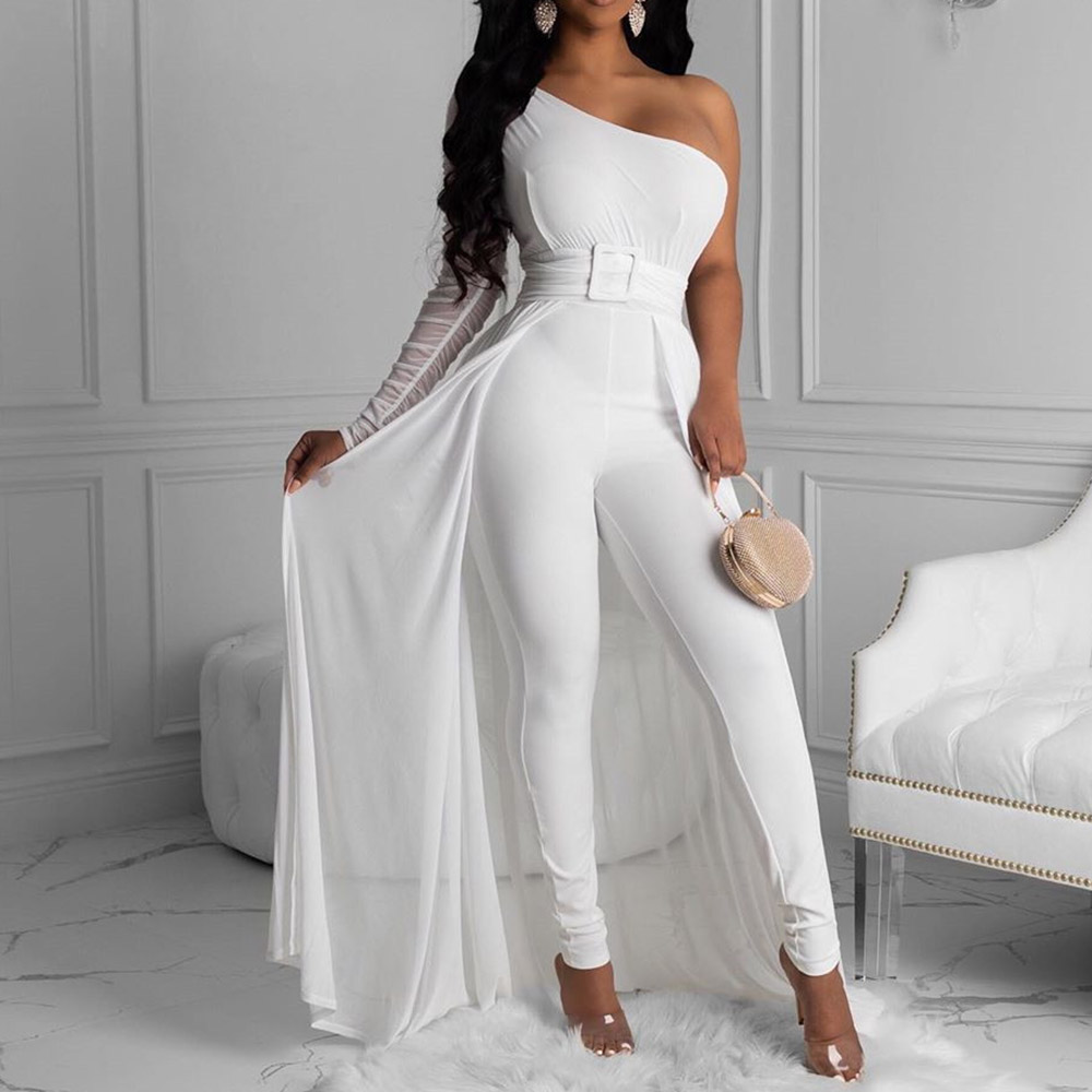 Sexy One Shoulder Jumpsuit Women Solid White Long Pencil Pants Office Ladies Elegant High Waist Rompers Party Playsuit 2XL