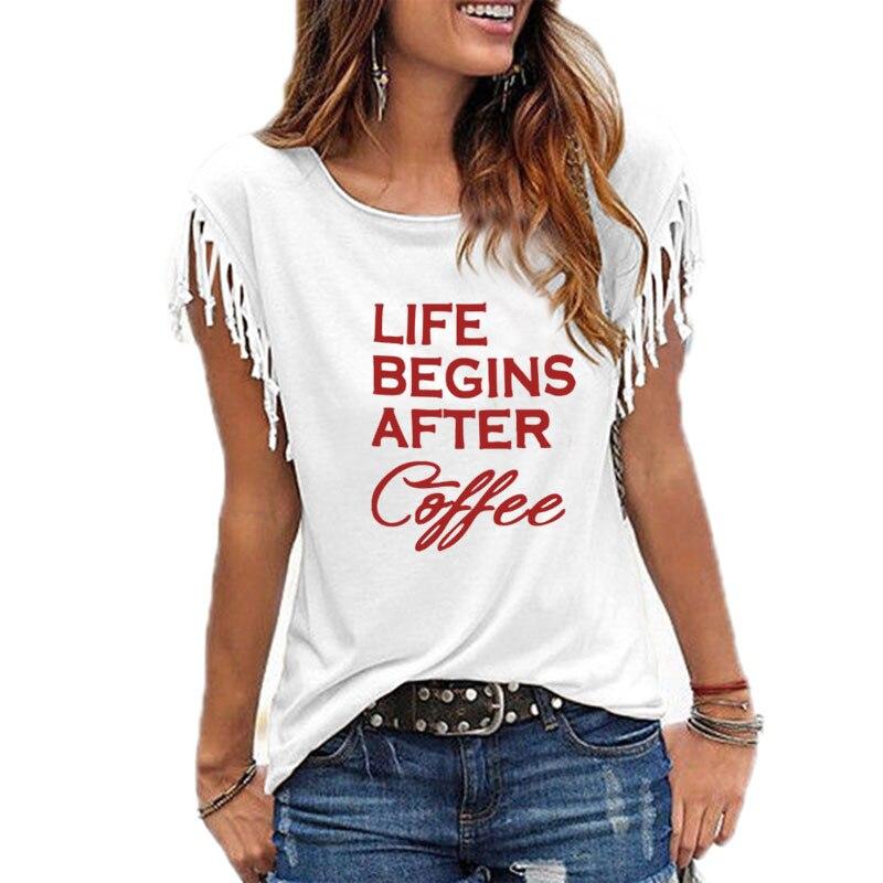 Nova Chegada Bolso Vida Beging Após O Café Letras T-Shirt de Impressão Para As Mulheres Tshirt T-Shirt Harajuku S-XXL