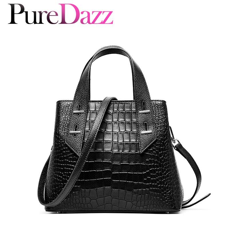 Genuine Leather Women Handbag OL Style Tote Crocodile Pattern Large Capacity Female Bag Brand Designer Ladies Handbag