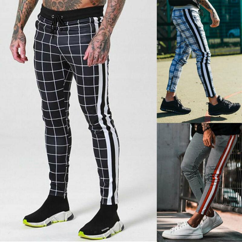 Autumn Mens Long Casual Sport Pants Gym Slim Fit Trousers Plaid Jogger Sweatpants Bodybuilding Joggers Workout Trousers
