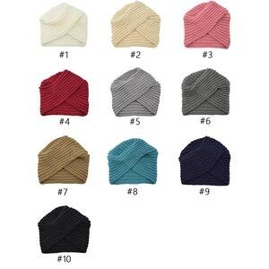 Image 3 - הודו צלב סרוג טורבן כובע נשים של סתיו כובע חורף כובע לנשים קשמיר בימס כובעי עבור בנות כובעים מוסלמיים czapka zimowa