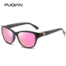 FUQIAN Brand Fashion Cat Eye Women Sunglasses Polarized Vintage Plastic Female Sun Glasses Pink Shades Sunglass Gafas De Sol