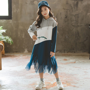 Image 1 - 여자 긴팔 후드 드레스 새로운 스타일 2019 가을 새로운 어린이 패치 워크 드레스 히트 컬러 메쉬 원사 프로 베이비 드레스, #8005