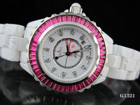 New Men Women Luxury Japan Quartz Black White Ceramic Date Diamonds Round Watch Pink Blue DIAMOND BAUGETTES BEZEL Lady Watches