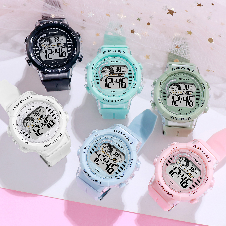 SYNOKE 1 Пара Дети% 27s Часы 50M Водонепроницаемость Спорт LED Световой Электронный Часы Мальчики Девочки Дети Цифровые Наручные часы Reloj