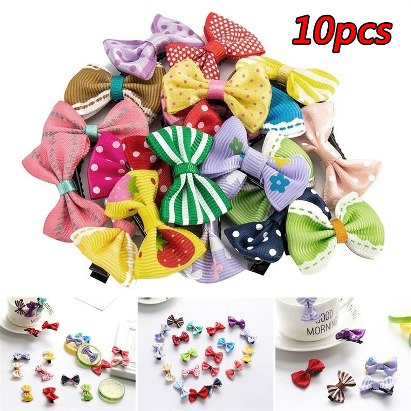 10pcs Fabric Bow Hair Clip