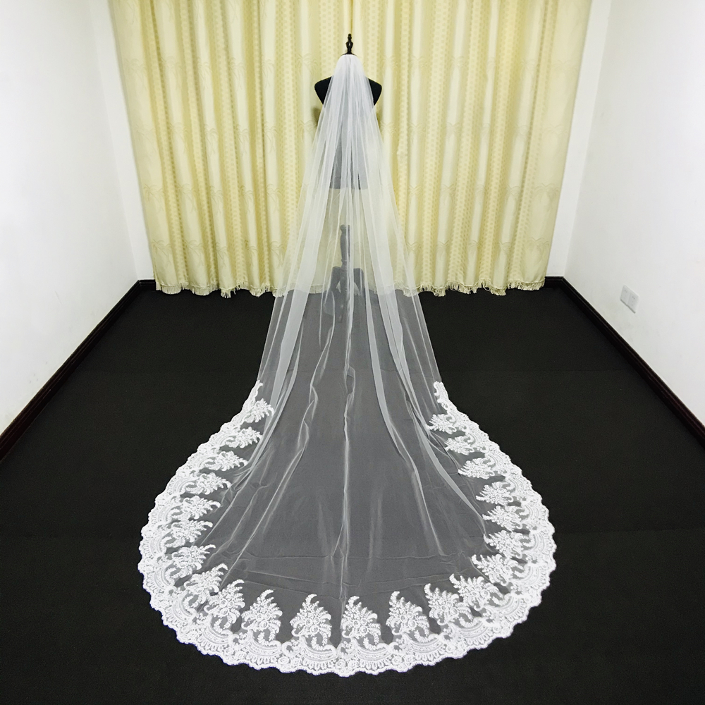 Wedding Veils Cathedral Length Lace Appliqued One Layer Custom Made White Ivory Veils with Comb Bride Bridal Accessories