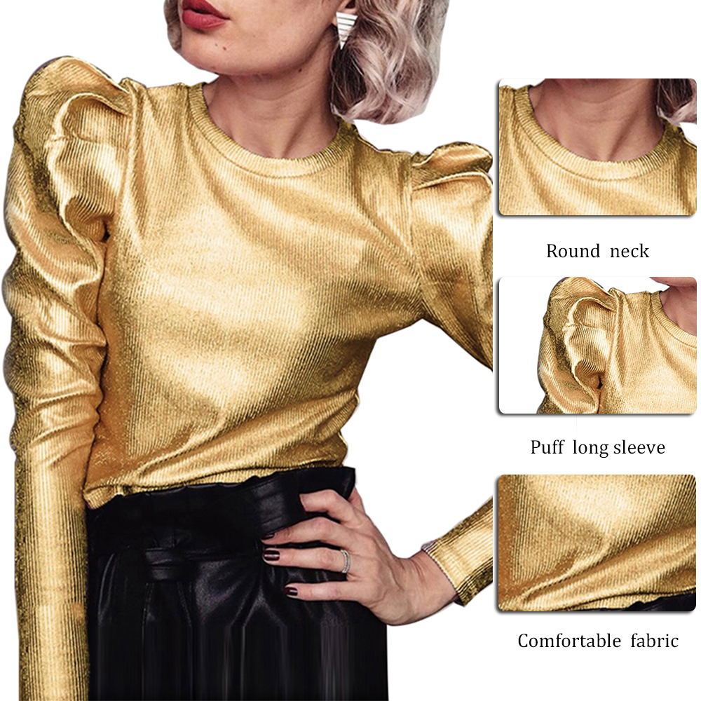 2020 Spring Women Velvet Puff Long Sleeve Blouse Casual Shirt Women O Neck Slim Fit Tops Fashion Streetwear Blouse
