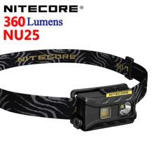 NITECORE NU25 360 люмен, легкий перезаряжаемый налобный фонарь с тресветильник источниками света со встроенным аккумулятором и зарядным кабелем