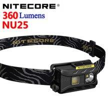 Nitecore nu25 360 lumens, featherweight três-fonte de luz farol recarregável com bateria embutida e cabo de carregamento